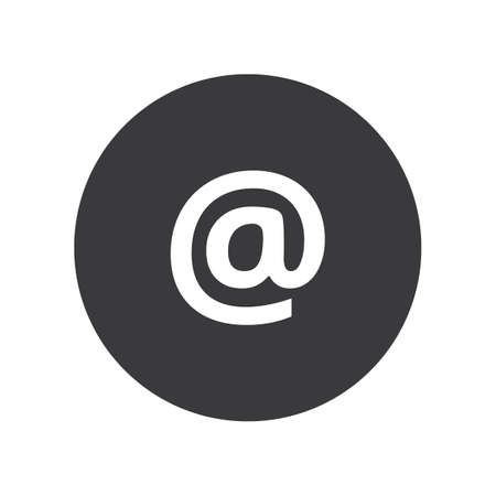Flat round at sign mail icon