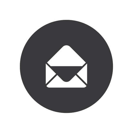 Flat round open envelope icon