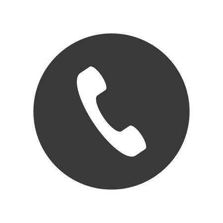 Flat round phone handset icon