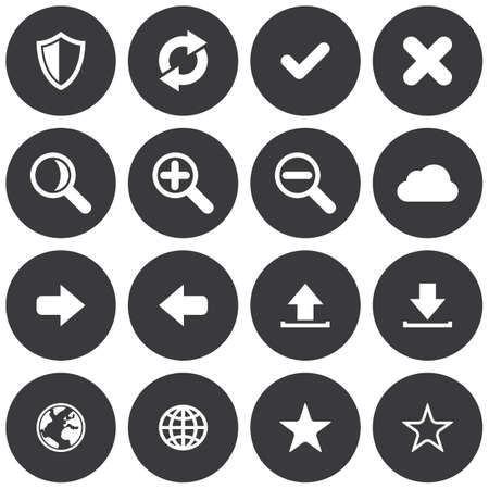 Flat round web application icon set