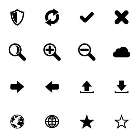 Flat black web application icon set