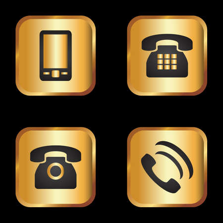 Elegant gold and black phone icon set
