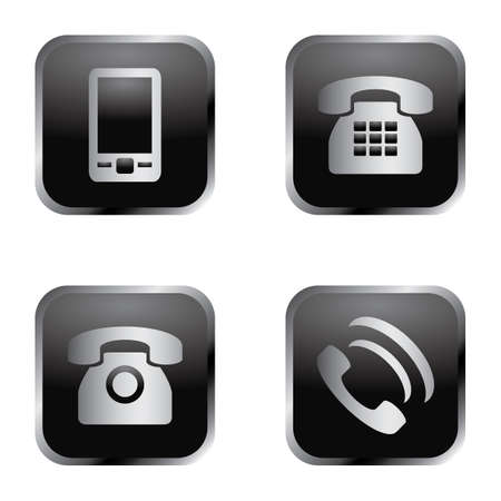Elegant silver and black phone icon set