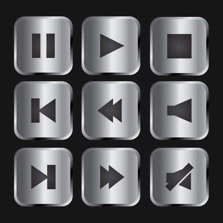 Elegant silver and black media player icon set