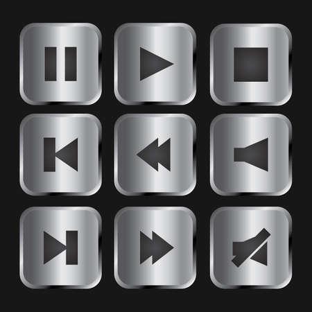 Elegant silver and black media player icon set