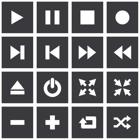 Square media player icon set