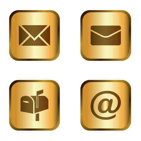 Elegant golden mail icon set