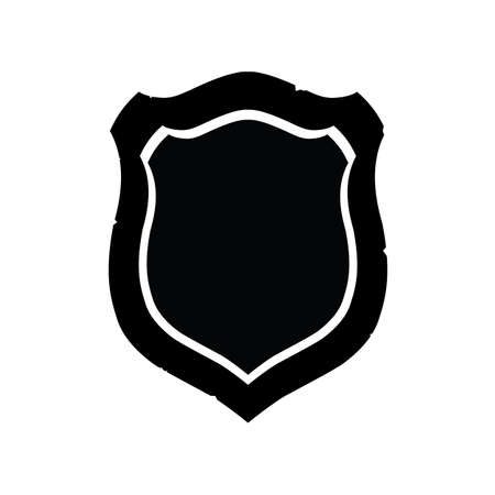 Flat black shield, badge icon