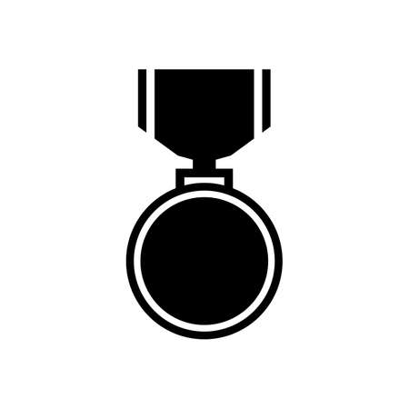 Flat black medal icon