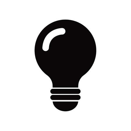 Flat black light bulb icon