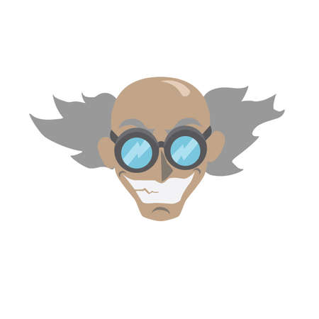 Cartoon mad scientist face - vector illustration