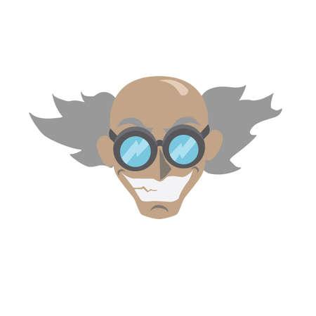 Cartoon verrückter Wissenschaftler Gesicht - Vektor-illustration