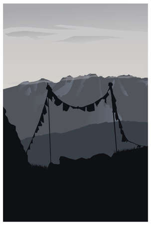 Vector art gray Tatra Mountains view, poster design
