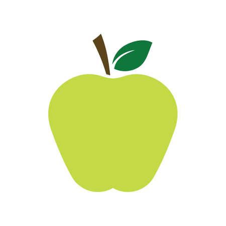 Flat green apple fruit icon