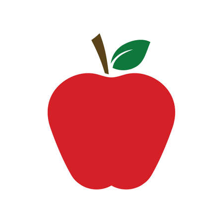 Red flat apple fruit icon