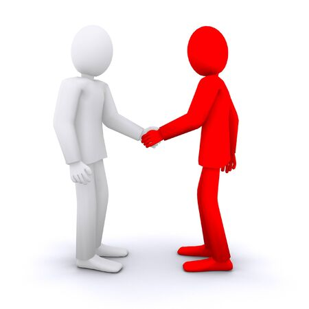 officially: people are shaking hands, business partners and employees