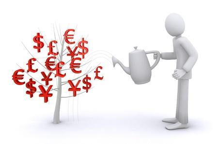 power of money: man who watering money tree, economic growth