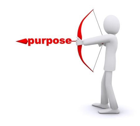 man who pulls an arrow bow, arrowhead   word is purpose