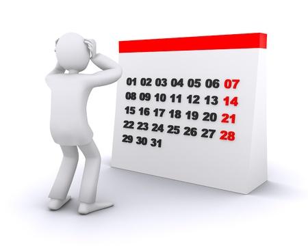 kalender: Mann, der in Panik aus der Zeit auf dem Kalender Lizenzfreie Bilder