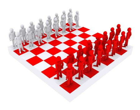 chessboard: people like figures on a chessboard Stock Photo