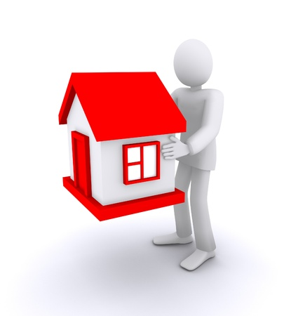 man who holds a house, real estate Stock Photo - 11972967