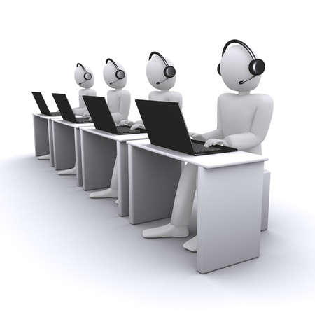 help desk: operators or managers from call-center Stock Photo