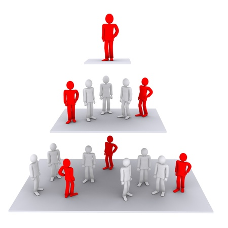 3d person: working structure - from employees to the chief Stock Photo
