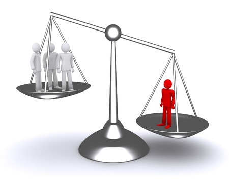 weighty: People in the balance, a powerful argument, the law, the leader  Stock Photo