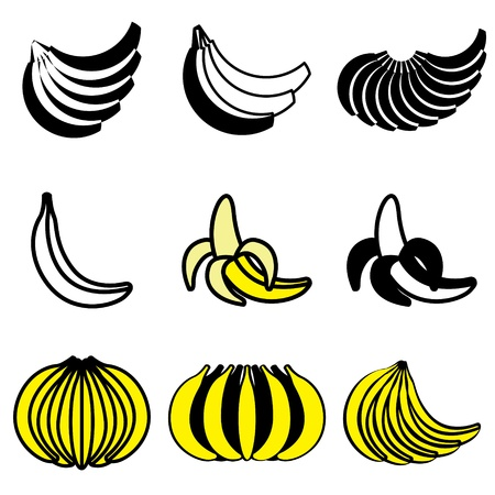 banana icons vector set Vector