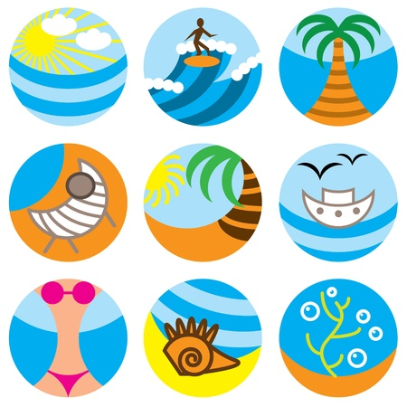 vacation on beach icons vector set Vector