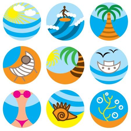 sun tanning: vacation on beach icons vector set