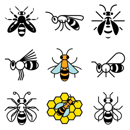 miel de abeja: los iconos de la abeja conjunto de vectores Vectores