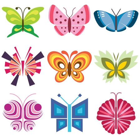 butterfly icons vector set Vector