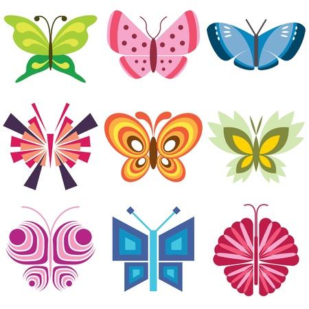 tattoo butterfly: vector icone set farfalla Vettoriali
