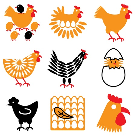 hen and chicken icons vector set Stock Vector - 12834794