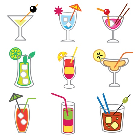 cocktail party: cocktail icons vector set Illustration