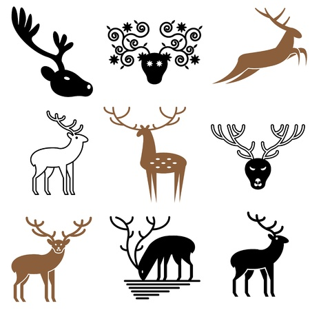 deer icons vector set Vector