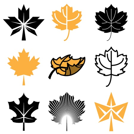 maple leaf: maple leaf icons vector set Illustration
