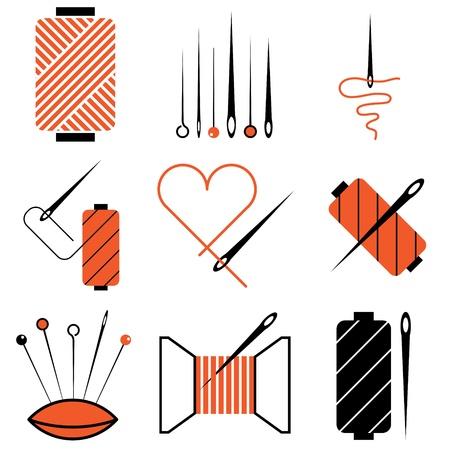 pisar: aguja y la banda de rodadura conjunto de vectores iconos Vectores