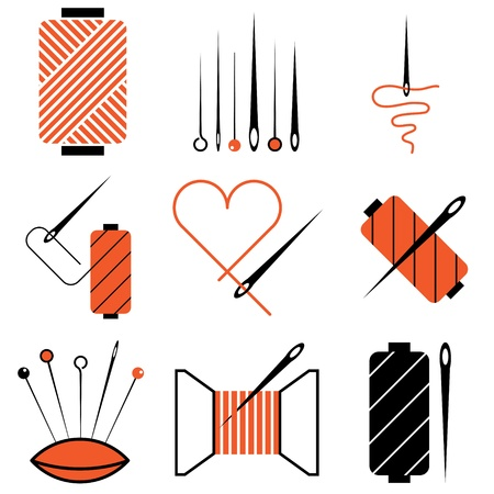 textile industry: needle and tread icons vector set Illustration
