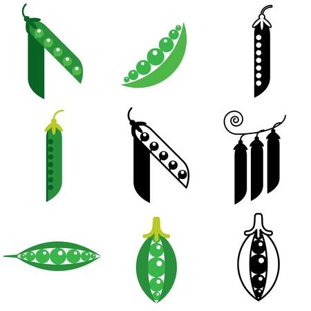 green pea: peas icons vector set Illustration