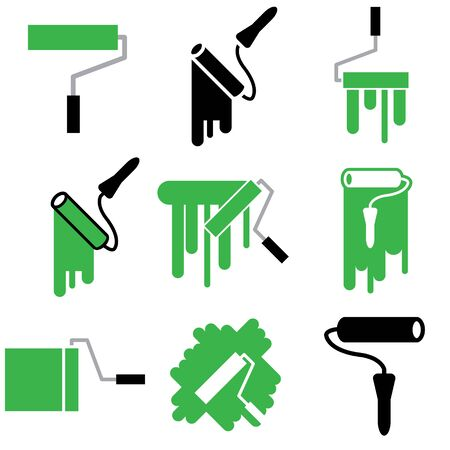 roller and paint icons vector set Stock Vector - 12834741
