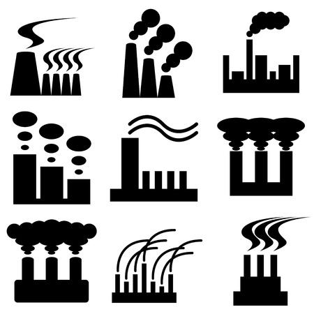 icono contaminacion: la planta y la f�brica de conjunto de vectores iconos Vectores