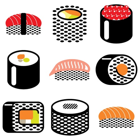 sushi rolls icons vector set Vector