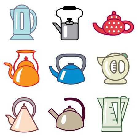 teapot and kettle icons vector set