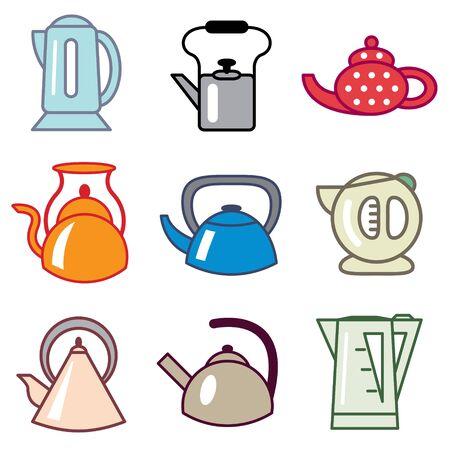 kettles: tetera y cafetera conjunto de vectores iconos Vectores