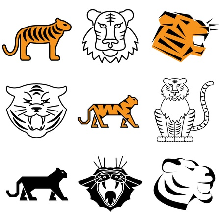 tiger icons vector set Stock Vector - 12834800