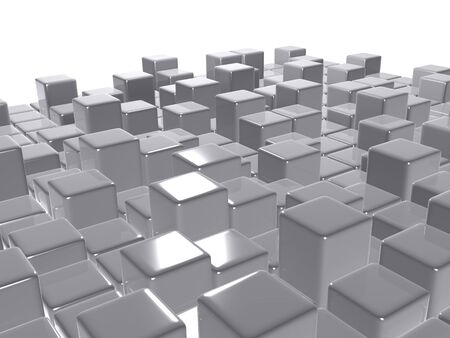 3d abstract background glossy grey cubes Stock Photo - 12834652