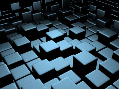 smoothed: 3d abstract background metallic cubes