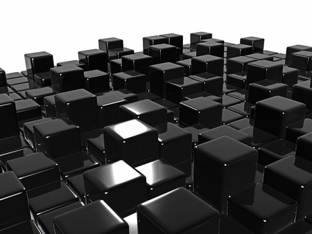 smoothed: 3d abstract background glossy black cubes Stock Photo